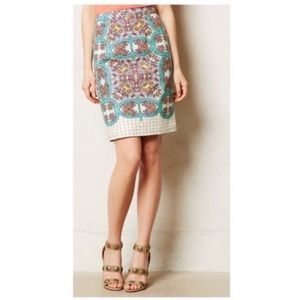 Anthro Maeve floral high waisted pencil skirt